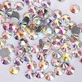 Nail Art Rhinestone кристл AB цвет SS3-SS48 flatback без горячей исправить стразы DIY ногтей украшения хрустальные камни Y2801