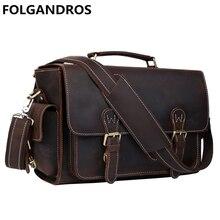 Brand Genuine Leather DSLR Camera Bag Designer Briefcases Men Laptop DSLR Shoulder Bag Versatile Vintage Men Handbag Best Gift