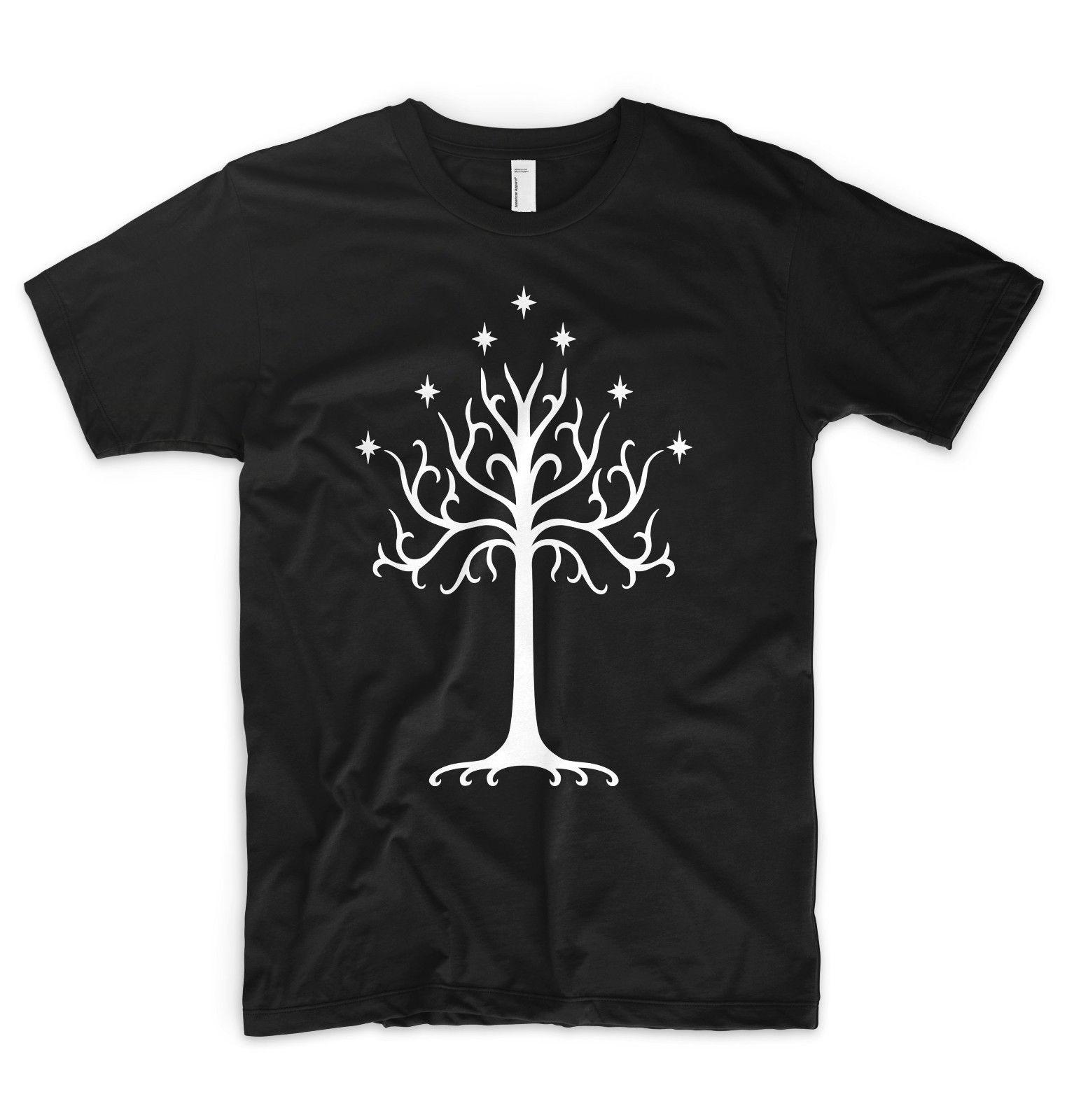 Tree of Gondor T Shirt The Lord of The Rings Hobbit Saruman Gandalf Frodo LOTR White O Neck Cotton T-Shirt Cartoon