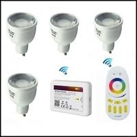 AC85 265V 4PCS Mi.light GU10 5W RGBW/WW Dimmable LED Bulb with milight 2.4G Wireless Touch RF Remote Controller +WIFI iBOX2
