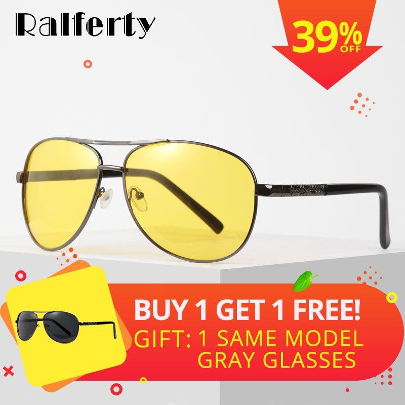 Ralferty Gelb Polarisierte Sonnenbrille Männer Frauen Nacht Vision Goggles Driving Gläser Fahrer Luftfahrt Polaroid Sonnenbrille UV400