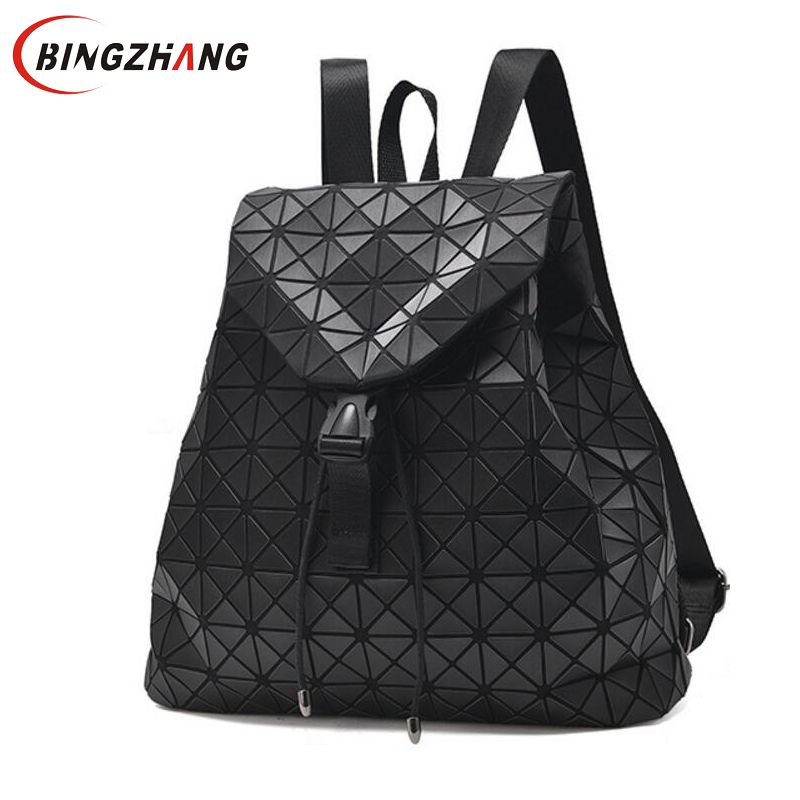 2018 Teenage Girl Backpack Diamond Lattice Geometry Quilted School Bag Backpacks For Women Luminous School Bags Mochila L8-59 2018 hot new travel sack designer backpack women back pack school girl cotton canvas diamond lattice backpacks green oxford bags