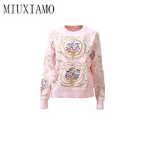 Europe Fashion 2018 Autumn New Arrival Casual Wool O Neck Full Sleeve Knitted Pullovers Embroider And Print Sweatshirts Women