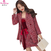 Yuxinfeng Autumn 2 Pieces Dress Set Women Fashion Runway Tweed Jacket+ Strapless Dress Suit Sets Two piece