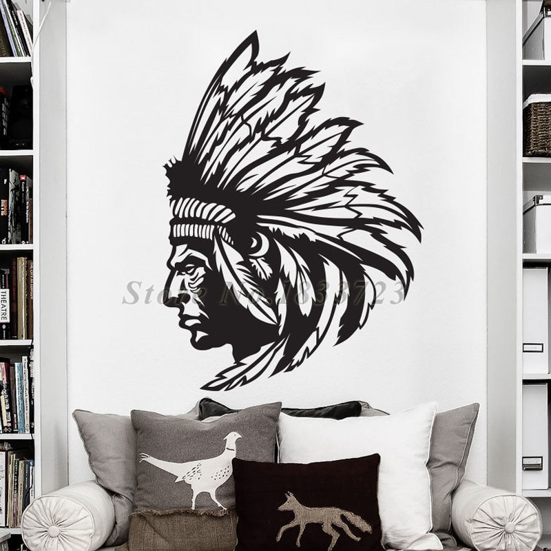 Native American Indian Chief Wall Decals Home Decoration Removable Living Room Vinyl Wall Sticker
