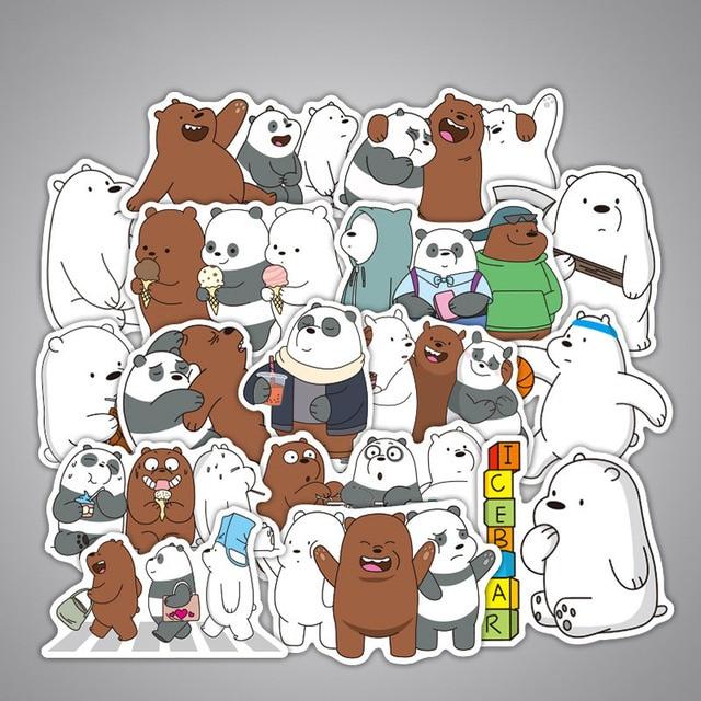 36 pçs bonito panda urso adesivos anime adesivos adesivo à prova ddiy água para decoração diy estilo do carro da bicicleta motocicleta telefone portátil