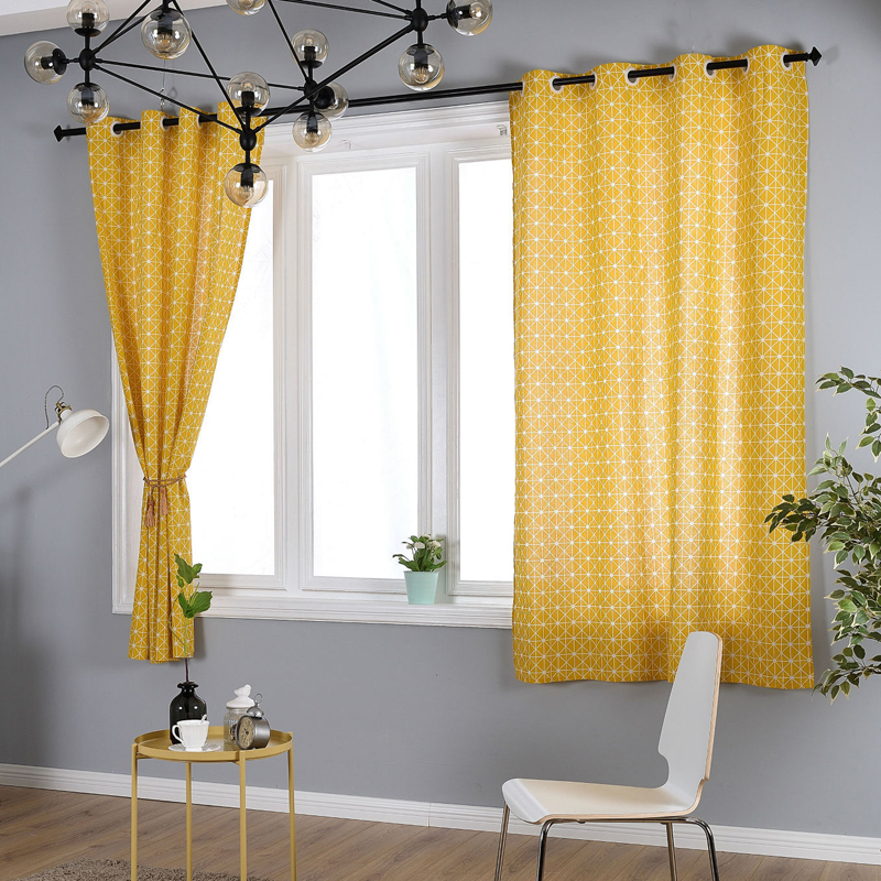 Pastoral plaid curtains cotton linen fabric half blackout - Long or short curtains in living room ...