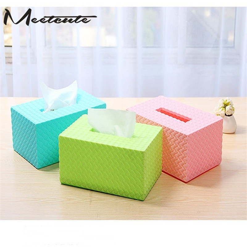 Meetcute Durable Tissue Box Rattan Home Forma de Bandeja de Bombeo - Organización y almacenamiento en la casa