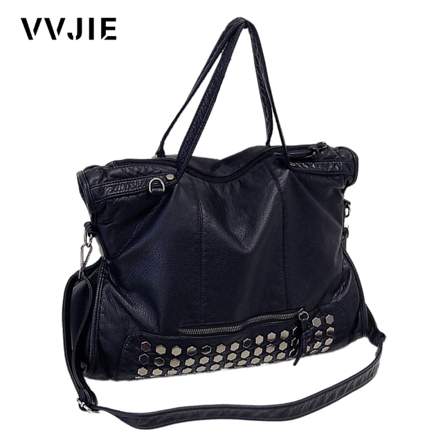 Vvjie Brand Famous Designer Rivet Soft Leather Handbags Black Women Shoulder Large Capacity Tote Las
