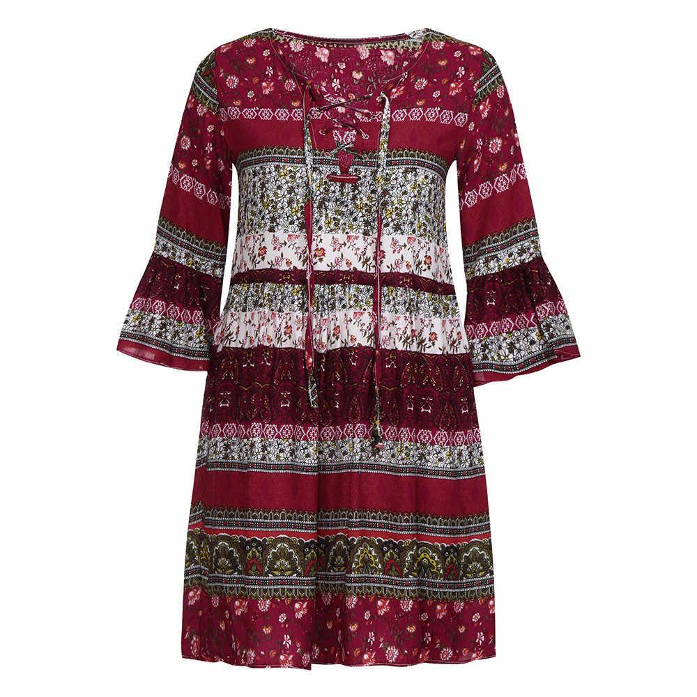 Vestido bohemio de manga tres cuartos con estampado Floral para mujer, vestido de noche para fiesta, vestido de señora ajustado con dibujo bohemio para playa