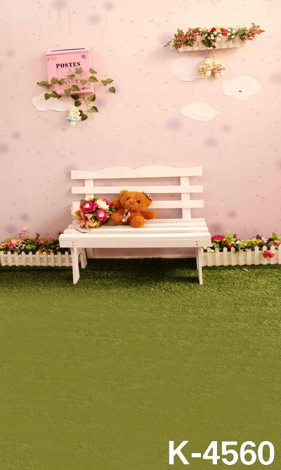 Outdoor Casual Baby Photography Vinyl Cloth Photo Studio Background Green Lawn White Bench Rest 150x200cm For Backdrops Studio