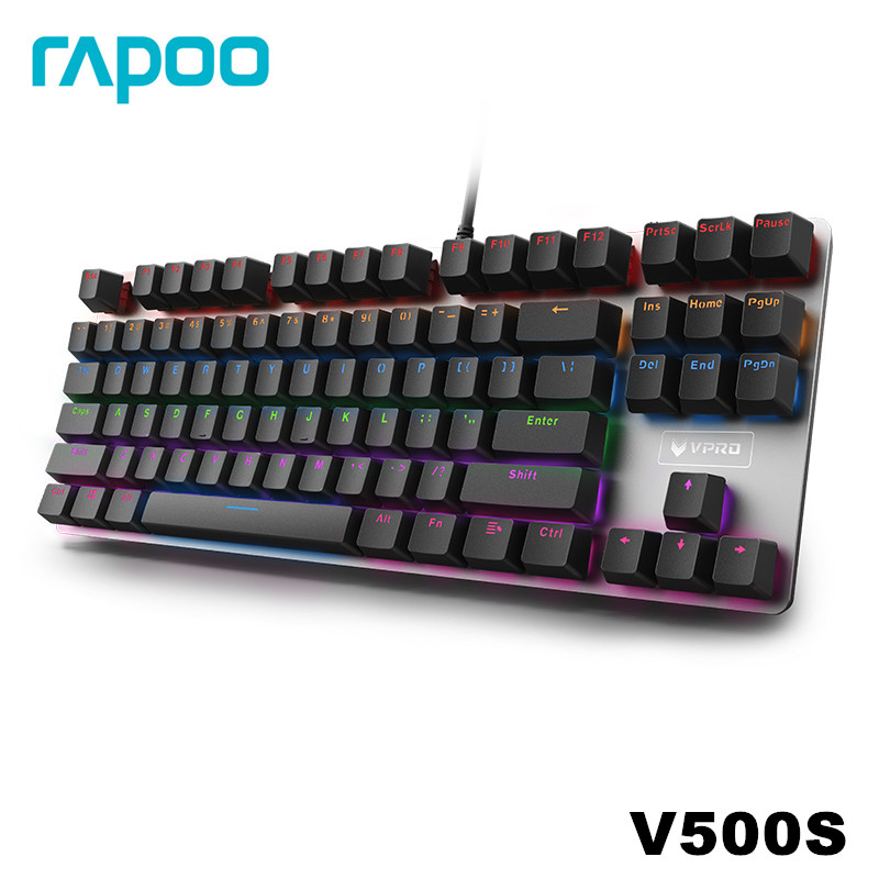 Rapoo V500 Alloy Version Mechanical Gaming Keyboard Teclado with USB Powered for Game Computer Desktop Laptop Black/Brown/Blue-in Keyboards from Computer & Office    2
