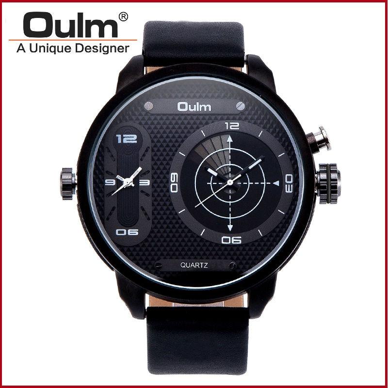 Top luxe dubbele Japanse beweging quartz horloge militaire grote wijzerplaat 2 tijdzone militaire oulm merk mannen horloge Gift reloj hombre