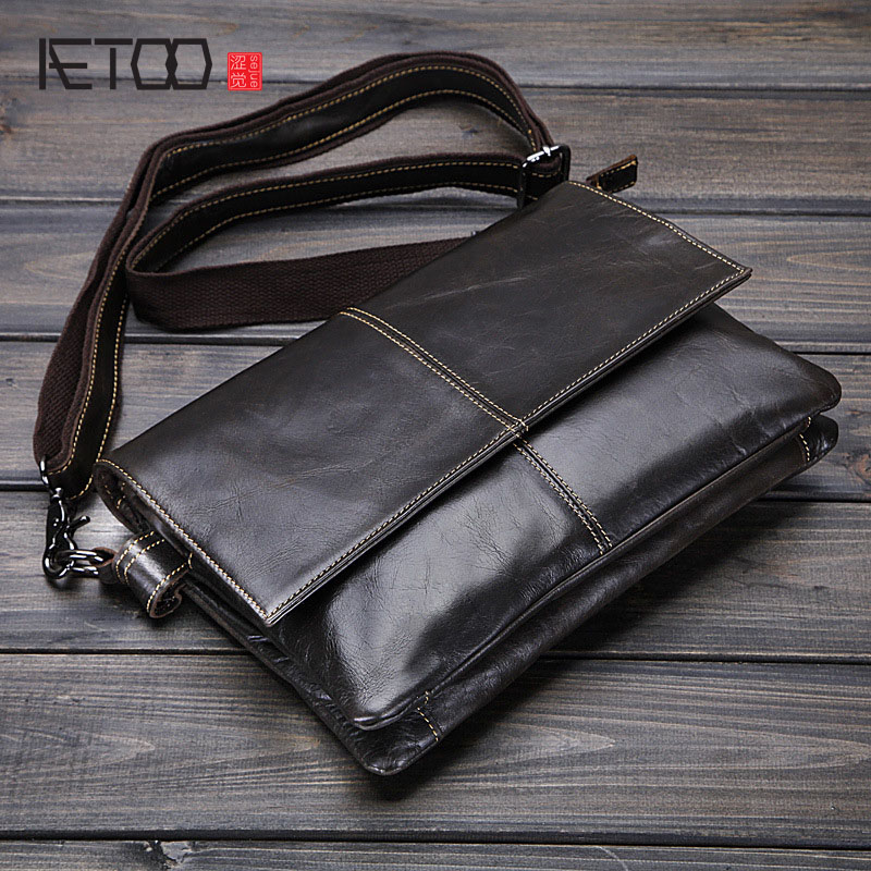 AETOO new men s bags Leather envelope bags business men s single shoulder inclined shoulder bag