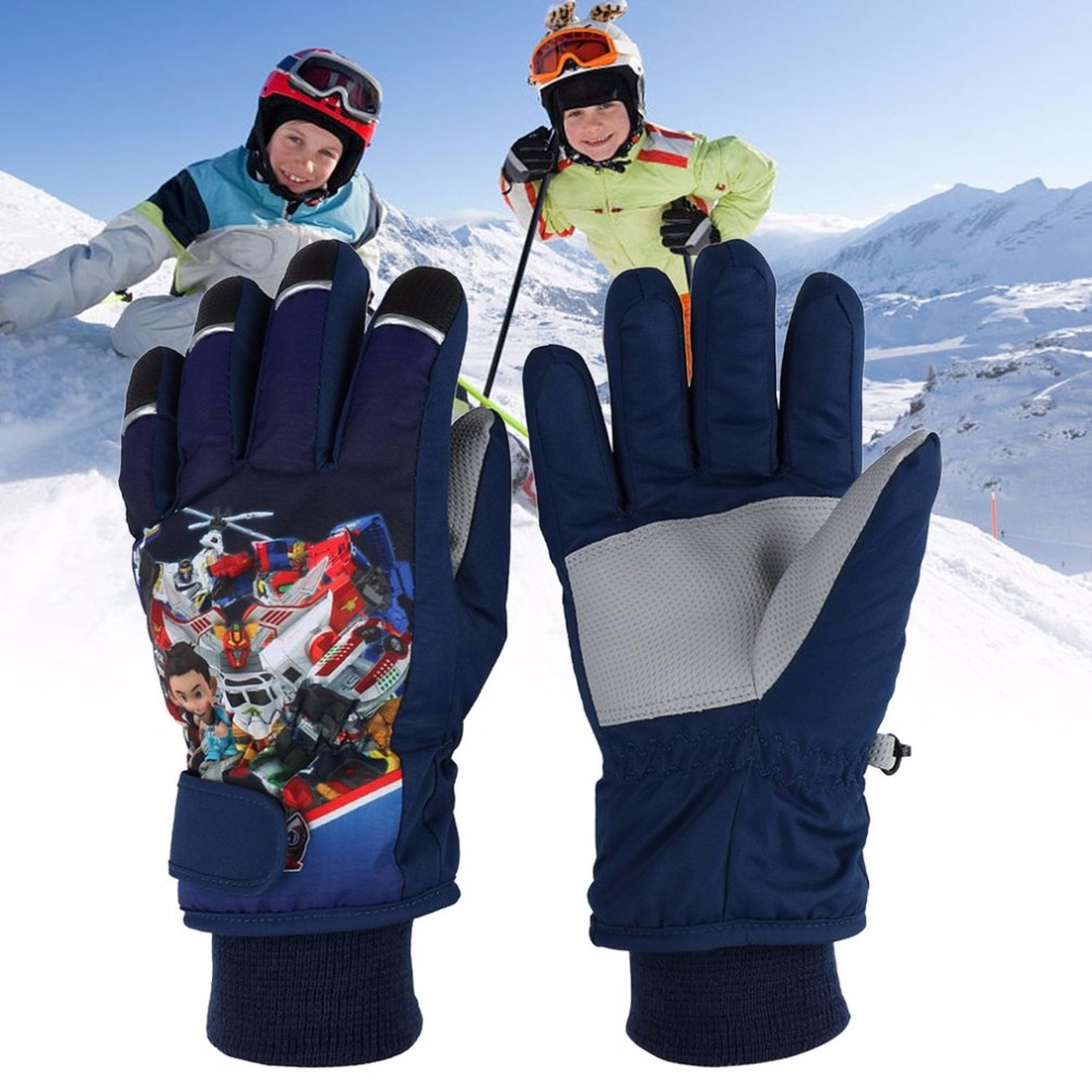2017 New Children Ski Gloves Waterproof Windproof Winter Warm Thick Glove Outdoor Sports Riding Skating Skiing Accessories