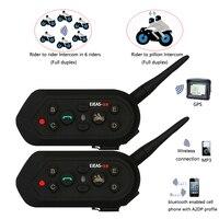 2017 Vnetphone 2pcs E6 Pro Motorcycle Helmet Bluetooth Headset Intercom 6 Riders 1200M Wireless Intercomunicador BT
