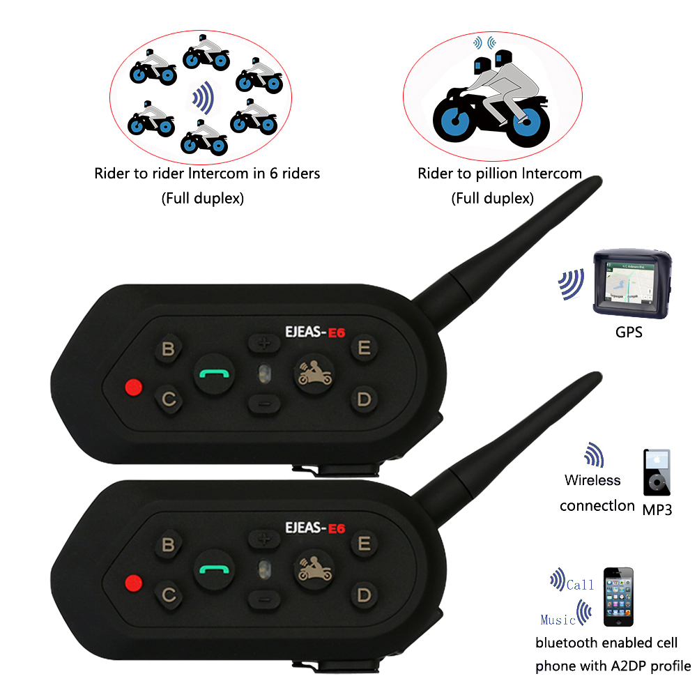 2018 Vnetphone 2 pièces E6 Pro casque de moto Bluetooth casque Interphone 6 coureurs 1200 M Intercomunicador sans fil BT Interphone