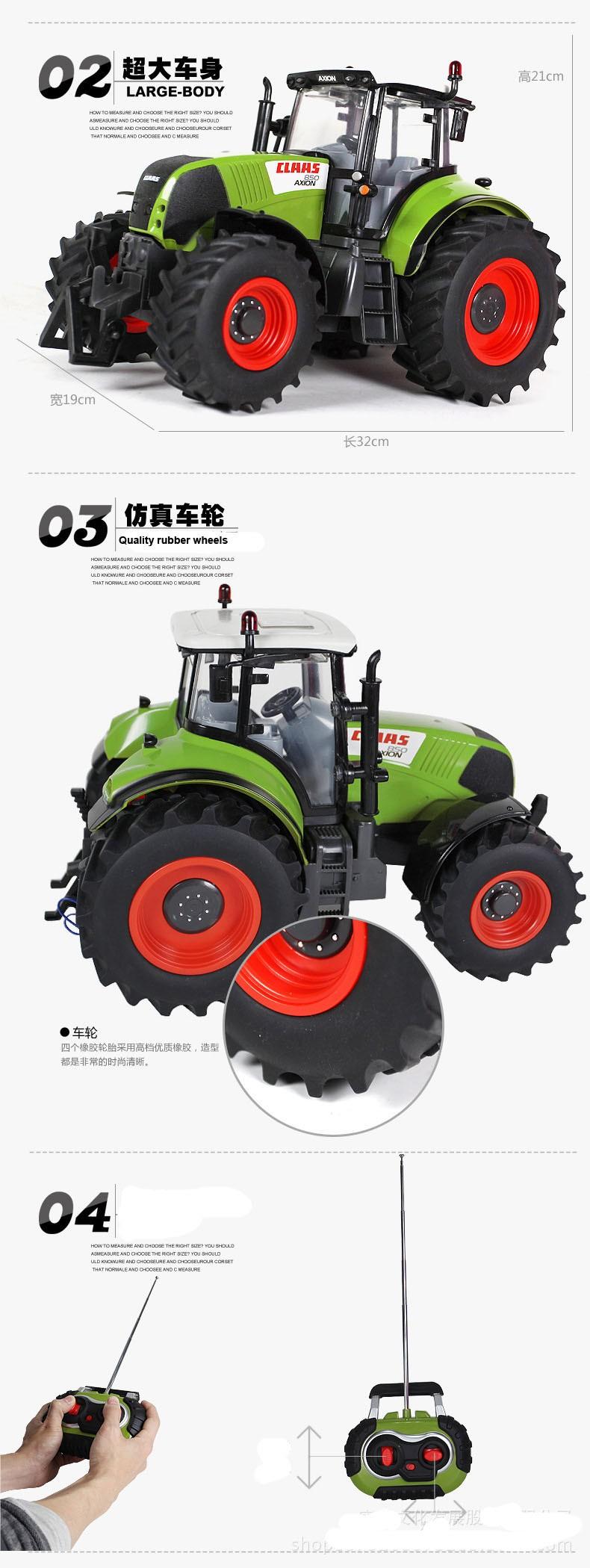 Hot Sale Voiture Telecommande Carrinho De Controle Remoto 1:16 Oversized Radio Remote Control Car Farmer Tractor Kids Toy 6