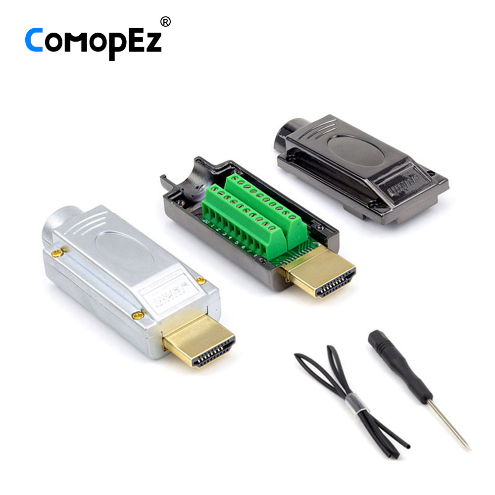 1PCS HDMI Connector 2.0 1.4 HD Adapter HDMI Male Connector HDMI Breakout Terminal Board With Housing Shell Hdmi Connector Solder