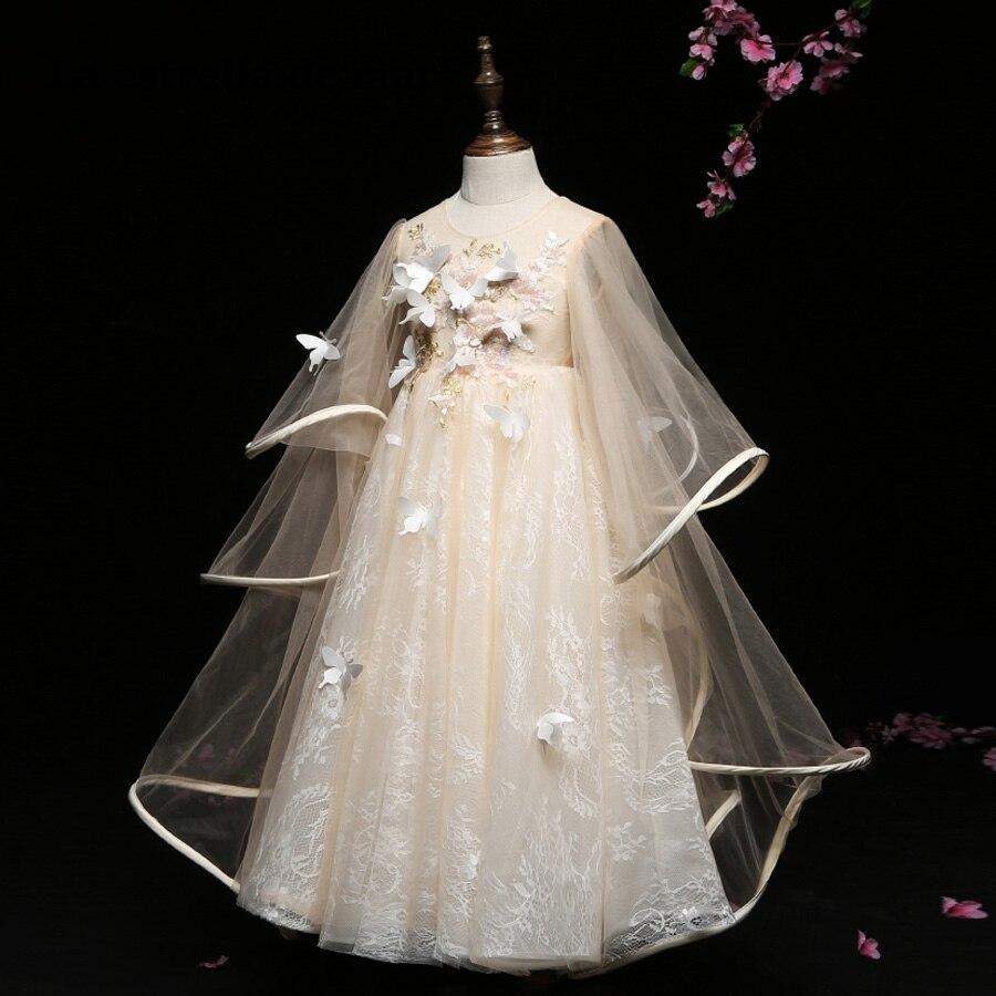 Vestido de daminha latest lace bat sleeve a Line champagne   flower     girl     dress   long luxury communion   dresses   custom made