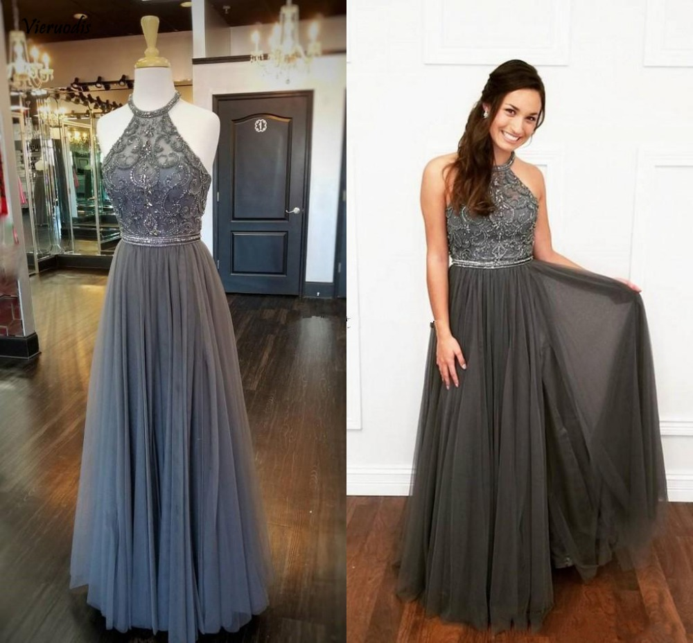Real Image Grey Tulle A Line Long Prom Dresses with Beaded Halter Neck Evening Party Gowns Sleeveless