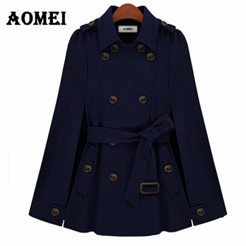 Зимнее женское пальто, модное пальто с двойными пуговицами, с поясом на талии, осенняя женская верхняя одежда темно-синего цвета, Manteau Femme, осенняя одежда - Цвет: Тёмно-синий