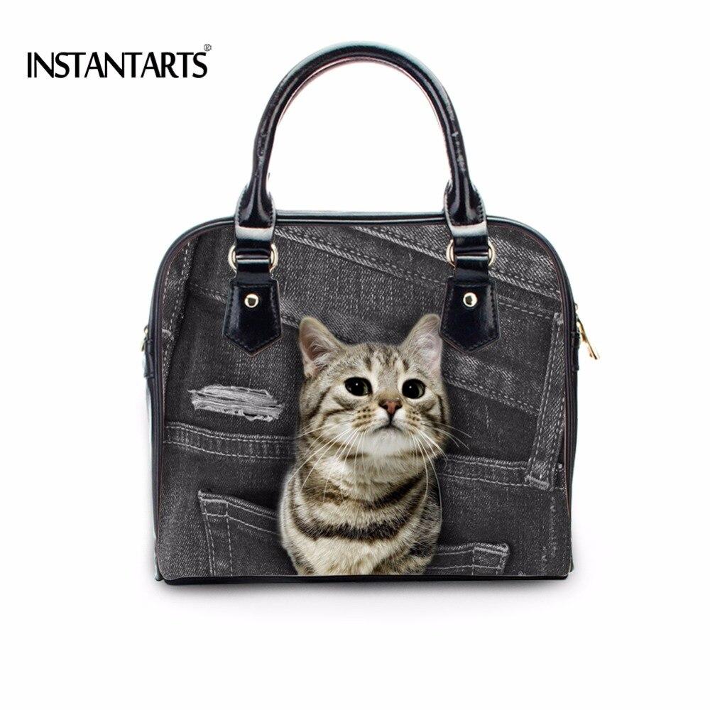 FORUDESIGNS Cute Denim Pocket Animal Cat Pattern Women Fashion Tote Shoulder Bags Female Casual PU Leather Cross Body Bags Woman