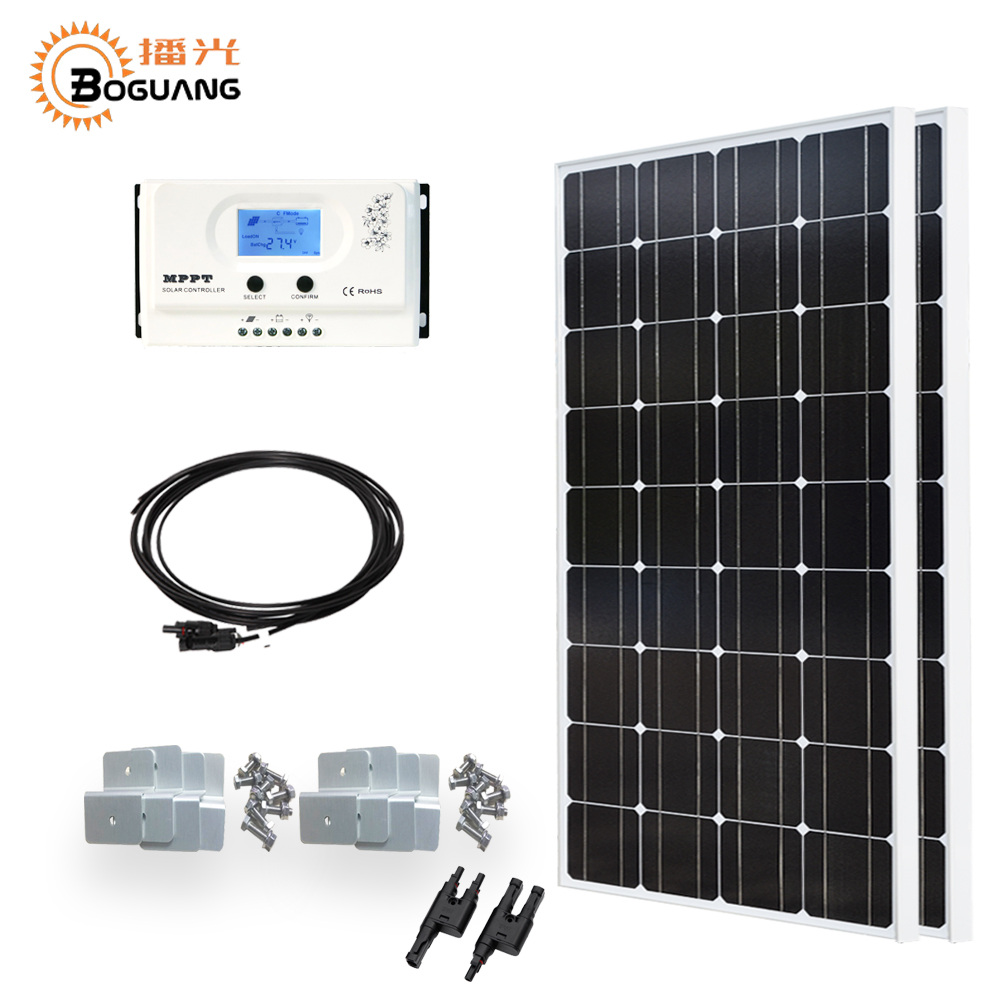 Boguang 200w solar system 2*100w solar panel 20A MPPT controller MC4 connector cable for 12v battery light home power charger 4pcs 100w flexible solar panel with mppt 30a controller and mc4 y connectors for 12v battery solar charger houseuse solar kit