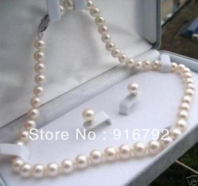 Wholesale free shipping >>>>>8-9mm White Cultured Pearl Necklace Earring Set 17