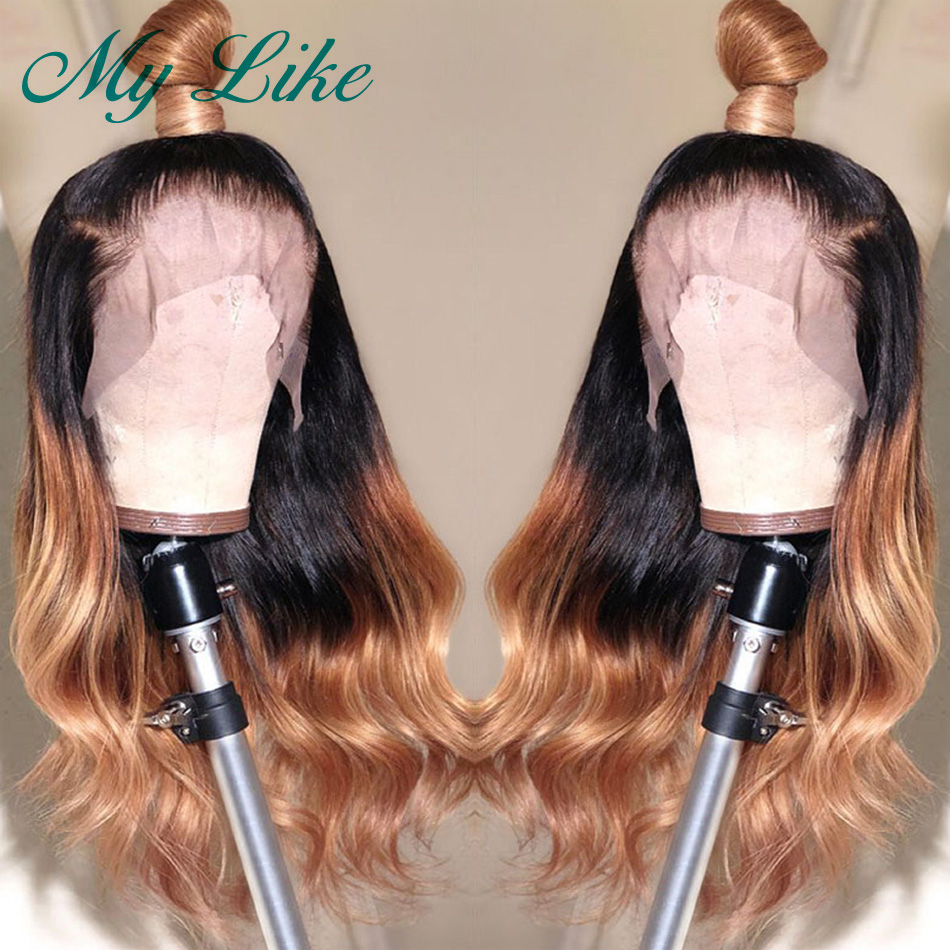 My Like Brazilian Body Wave 360 Lace Frontal Wig Pre plucked with Baby Hair Ombre Remy Hair 1b/27 Lace Front Human Hair Wigs(China)