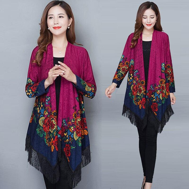2019 Boho Women blouse shirt Fringe Lace kimono cardigan Black Tassels Beach Cover Up Cape Tops Blouses damen bluze beach ladies
