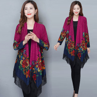 2019 Boho Women blouse shirt Fringe Lace kimono cardigan Black Tassels Beach Cover Up Cape Tops Blouses damen bluze beach ladies