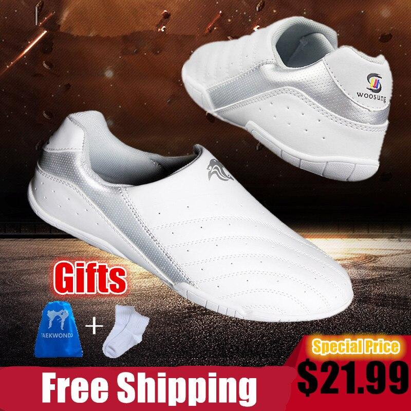 Белые удобные Обувь для тхэквондо для детей Для мужчин wo Для мужчин M Книги по искусству ial Книги по искусству тапки Спортивная Training WTF ТКД Ка...