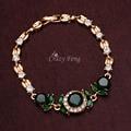 Wedding Party Gift Jewelry Green/Red/Dark Blue Handmade CZ Diamond Bracelets Bangles For Women Gold Plated Jewellery