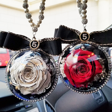 Car Hanging Pendant Crystal Diamond Rose Flowers Plastic Ball Hanging Rearview Mirror Automobile Sty