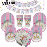 1 Suit 8/16Guests Disposable party tableware Pink girlish unicorn party Paper plates/cups/napkin Birthday party decorations kids