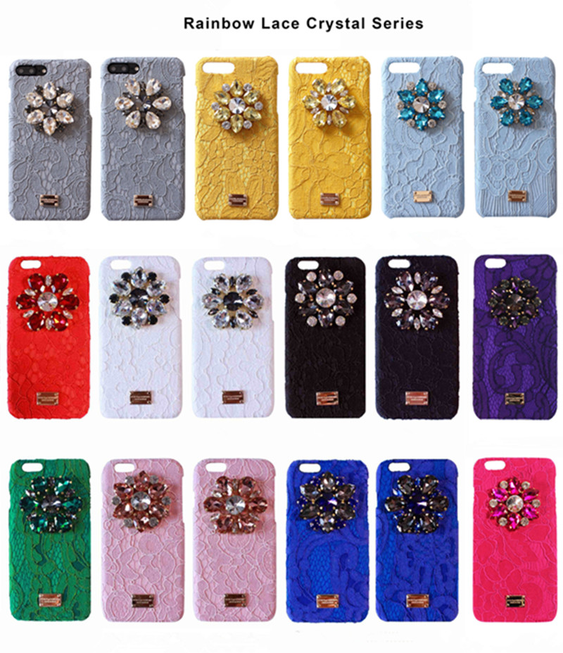 New Fashion Rhinestone Diamond Flower Lace Fabric Cover Coque for iPhone 6 6s 7 Plus Case Luxury Phone Cases Accessories