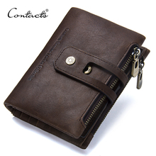CONTACTS 2020 New Arrival Genuine Leather Mens Wallet For Men Small Zipper Organizer Wallets Cash Carteira For Man Coin Purses