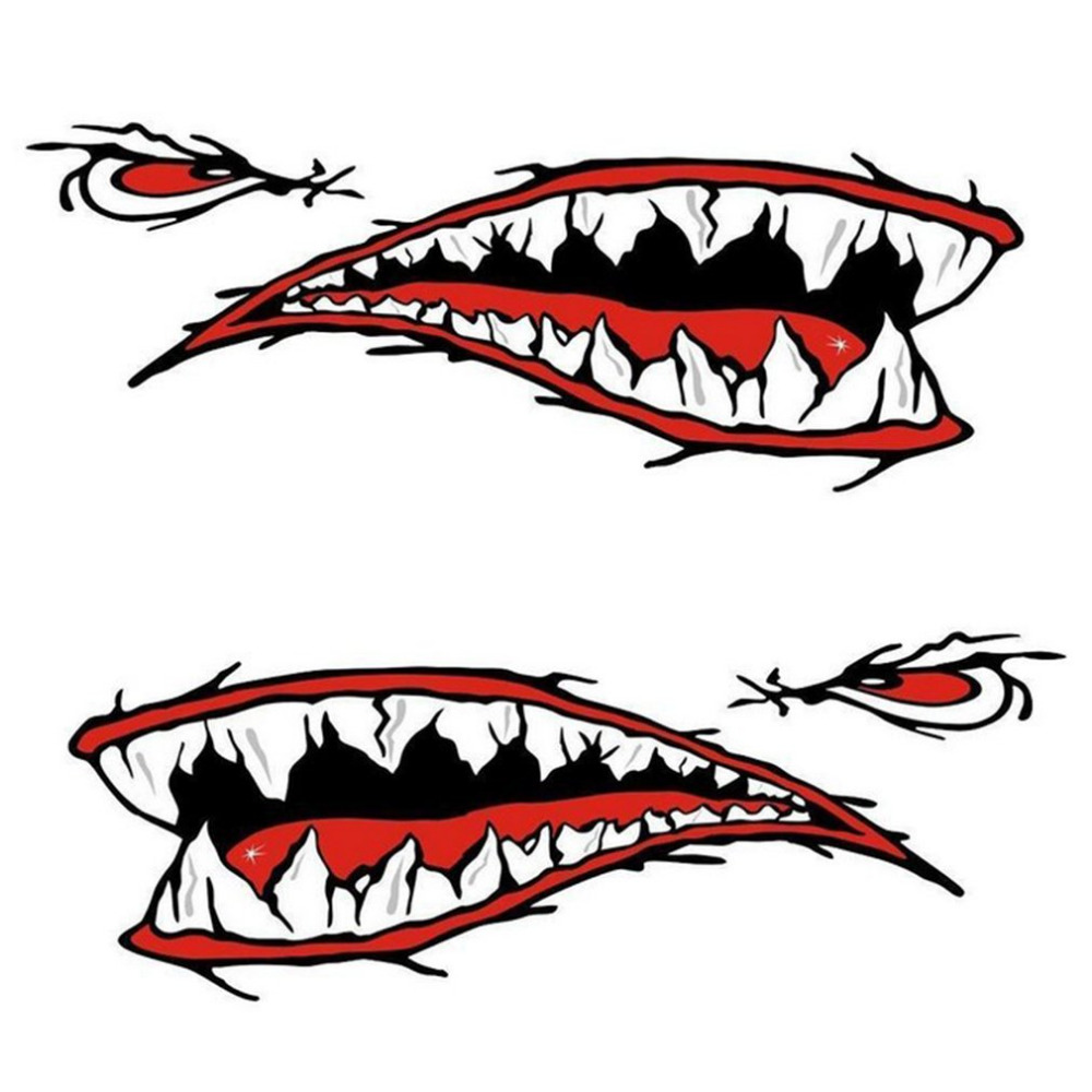 2pcs/set Fashionable Waterproof Shark Teeth Mouth PVC Sticker Decals for Fishing Ocean Boat Canoe Dinghy Accessory Drop shipping sc 202 fashionable diy scratch resistant pvc sticker for motorcycle black white 4 pcs page 2