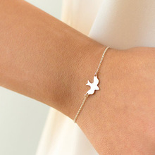 ФОТО 2018 new tiny peace dove bracelet birds bracelet little cute swallow bird bracelets