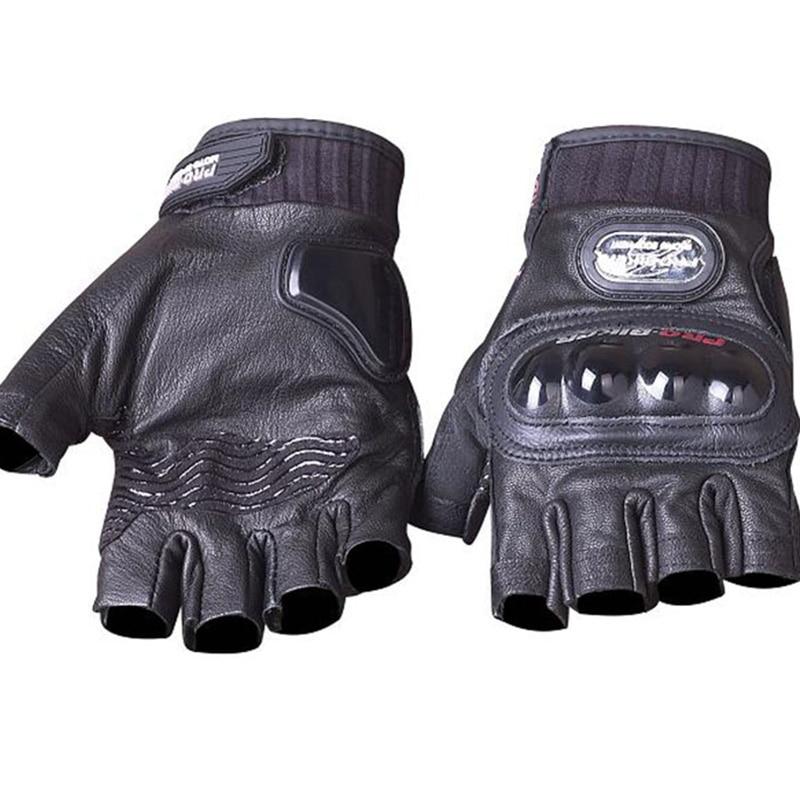 Guantes de motocicleta de cuero genuino Medio dedo en verano PRO-BIKER Guantes de carreras de motocross de piel de cabra auténticos Equipo de protección