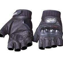 Genuine Leather Motorcycle Gloves Summer half finger PRO-BIKER genuine goat leather Motocross Racing Gloves protective gear