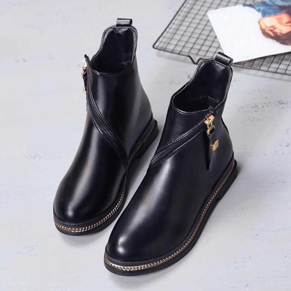 ... Winter boots women Fashion Solid Color Leather Middle Ratating Zipper s  Round Toe Shoes botas mujer ... abe1c5743448