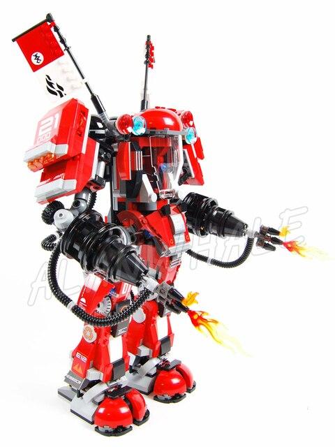 980 pièces nouveau Ninja feu Mech bataille énormes Robots rouges flamme 10720 modèle blocs de construction assembler jouets briques compatibles avec Lago
