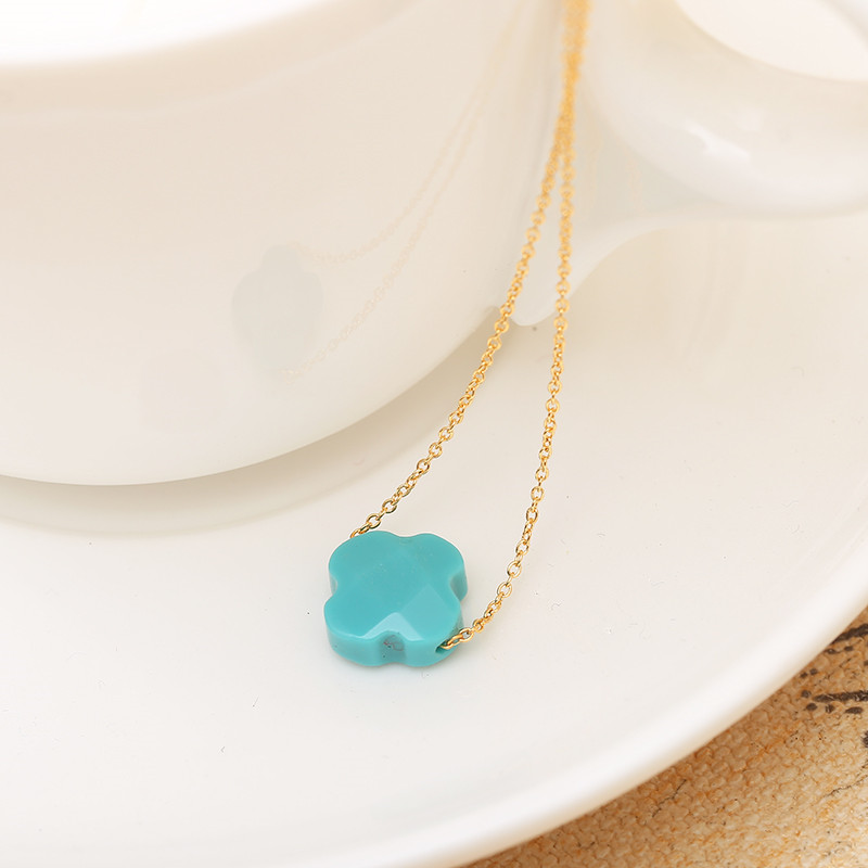 2017 New Flower Pendant Necklace 10 Colors Natural Stone Gold stainless steel Necklace Stone Necklace girl