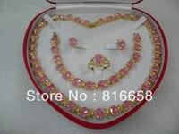 Trasporto libero @ @ monili delle donne rosa gemma oro giallo Collana Dell'orecchino Dell'anello Del Braccialetto
