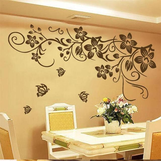 2016 New Diy Hot Large Butterfly Vine Flower Mural Art Wall Stickers ...