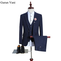 Wool Men Blue Blazer Suits Jacket Pant Vest Solid Color Slim Fit Man Business Suit Brand
