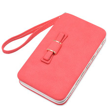 Hot Cute Lady Small Long Card Holder Women PU Leather Mobile Phone Wallet Anti-theft Mini Candy Color Women's Purse With Bow Tie