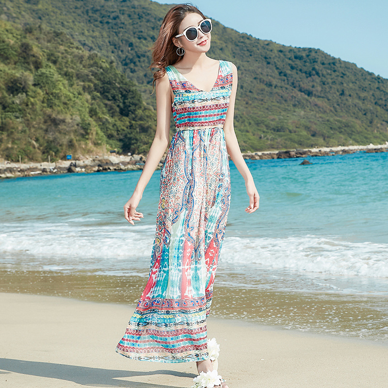 2017 Summer Women's Sexy Beach Casual Bohemian Vocation Chiffon A Line Dress Lady Casual Open back Tank Dress Vestidos 3161